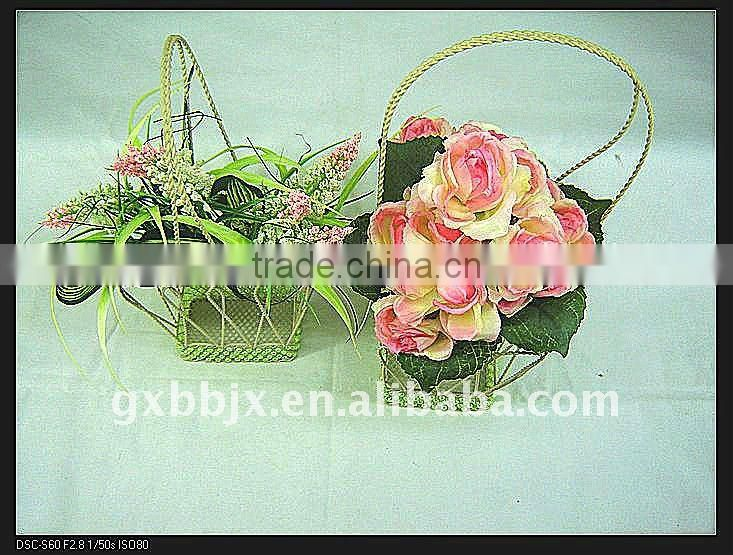 Rectangle wire garden hanging wire basket decorative with green pearl
