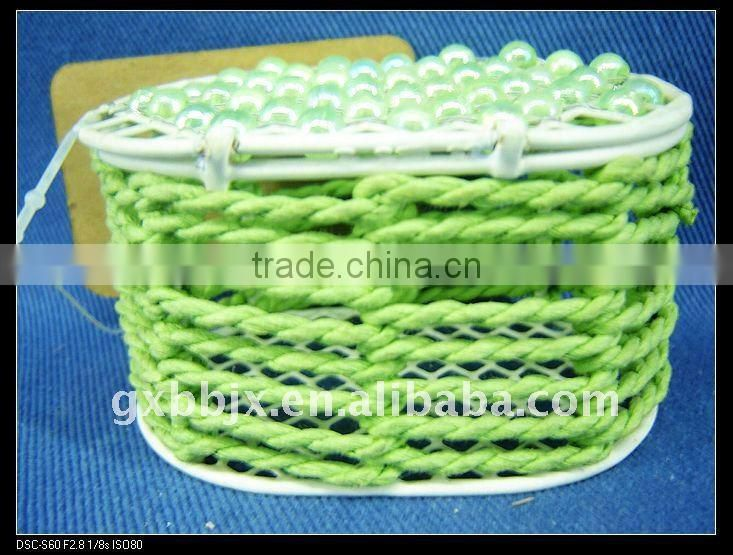 Green pearl & paper rope wire colorful storage boxes with lid