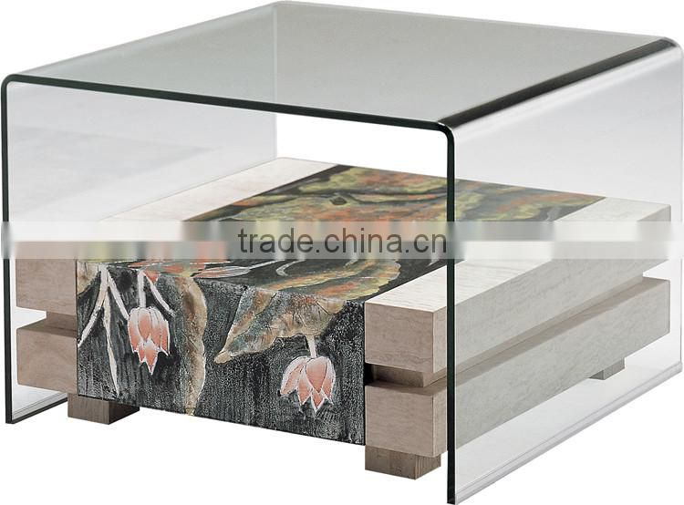 KD236C Fashion marble glass coffee table sets little square coffee table