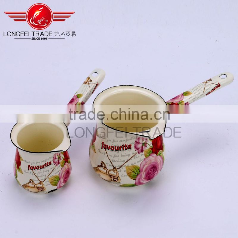 Factory promotional custom shape new design white enamel tea and coffee pot