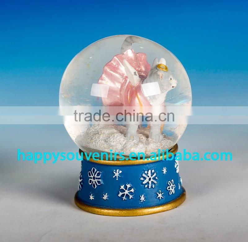 cute dog animal glass snow globe with polyresin base gift snow globe diameter 45mm