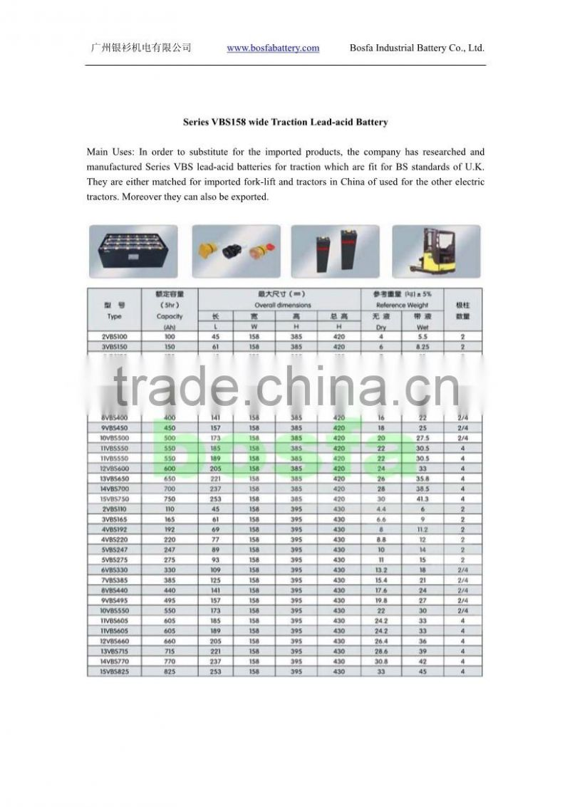 2v337ah VBS158 Series wide Traction Lead-acid Battery 2v 337ah batteries for electric forklift