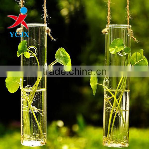 Custom Hand Blown Hanging Clear Glass Tube Vases