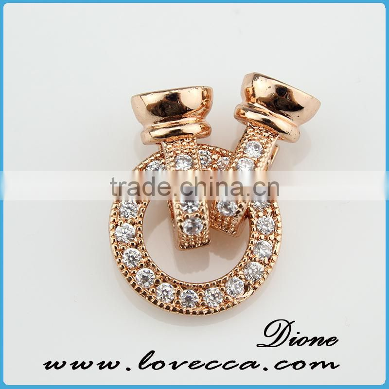 Fashion design sterling silver color pendant in pipe shape with cooper micropave setting pendant