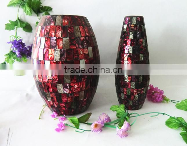 Ruby Red Mosaic Large Glass Art Unique Popular Vase Chinese Wedding Favor