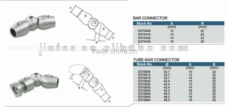 SS/Stainless steel Adjustable Tube-bar Connector/stainless steel holder