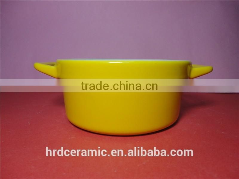 Stocked korean style colorful yellow high ceramic soup pot