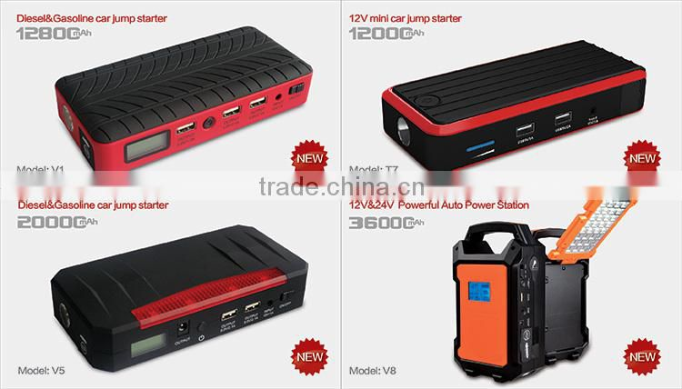 new design 12000mAh rechargeable car battery jump starter emergency road kit with SOS flashlight