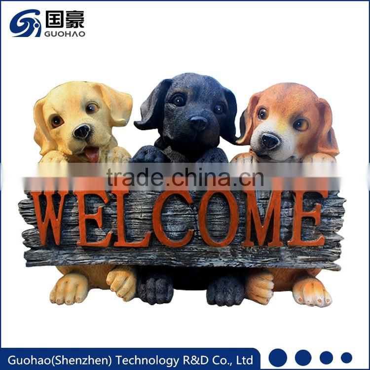 Adorable Puppy Welcome Garden Sign Statue