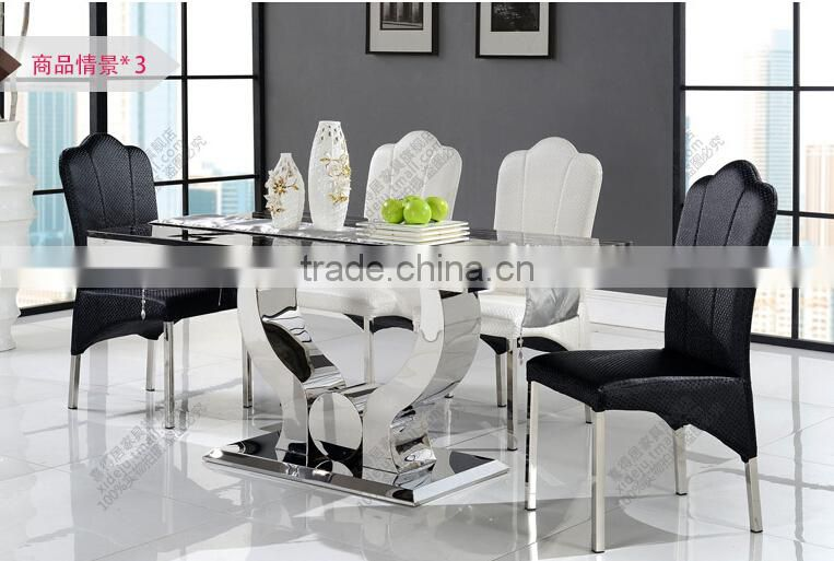 2015 best seller marble dining table/stainless steel dining table AH 2197