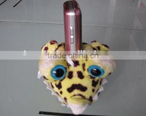 Cute puffer stuffed plush toy mobile phone desktop holder cell phone stand