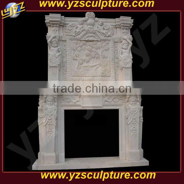 decor white marble double fireplace mantles