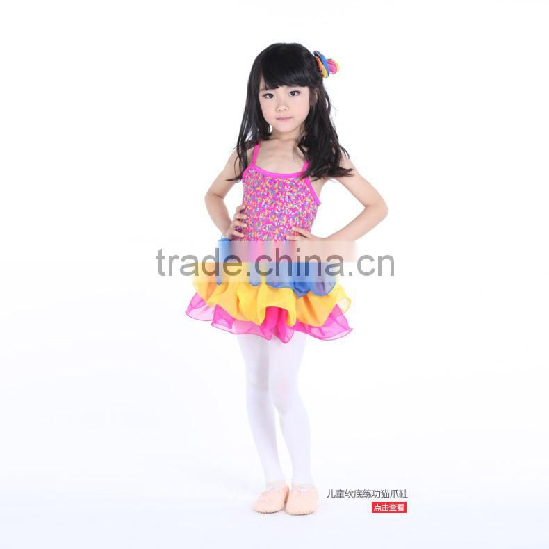 D008005 Rainbow multi-layered sequined latin dance dresses for girls of 6 years old dance dress costume