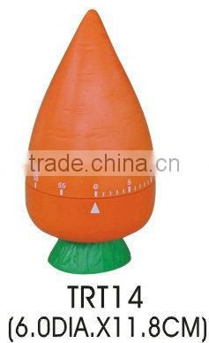 Plastic carrot shape mechanical kitchen timer/cooking sound timer