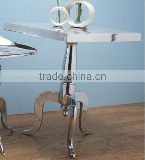 tall silver plated metal tables for coffee