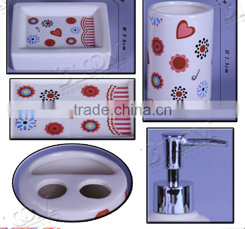 Wedding decor fashion decal design ceramic bathroom accessory set