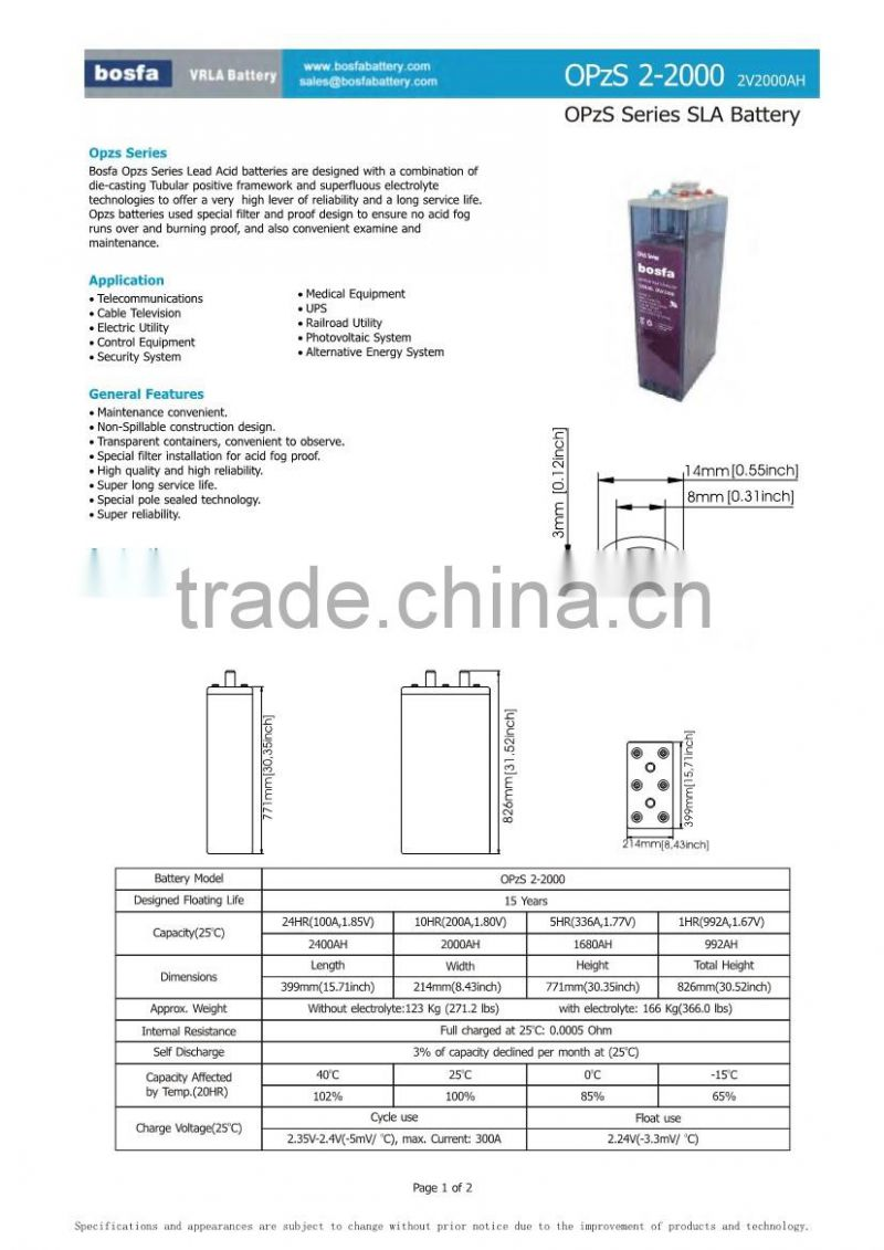 OPZS flooded lead acid battery water flood tubular battery tubular battery ups