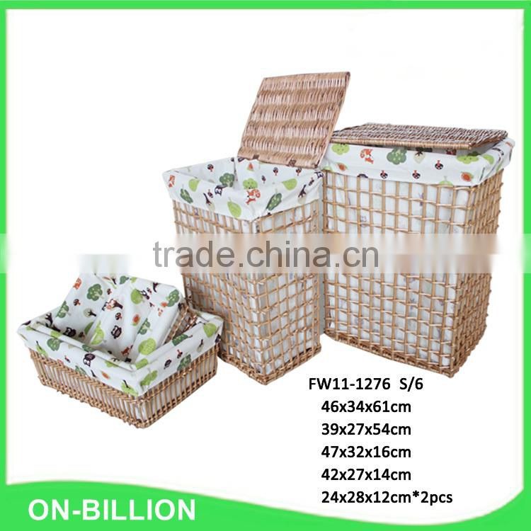 Fair trade stylish durable decorative wicker dirty cloth basket
