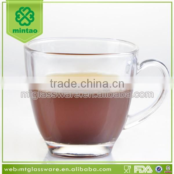 2016 summer machine made glass coffee cup with handle