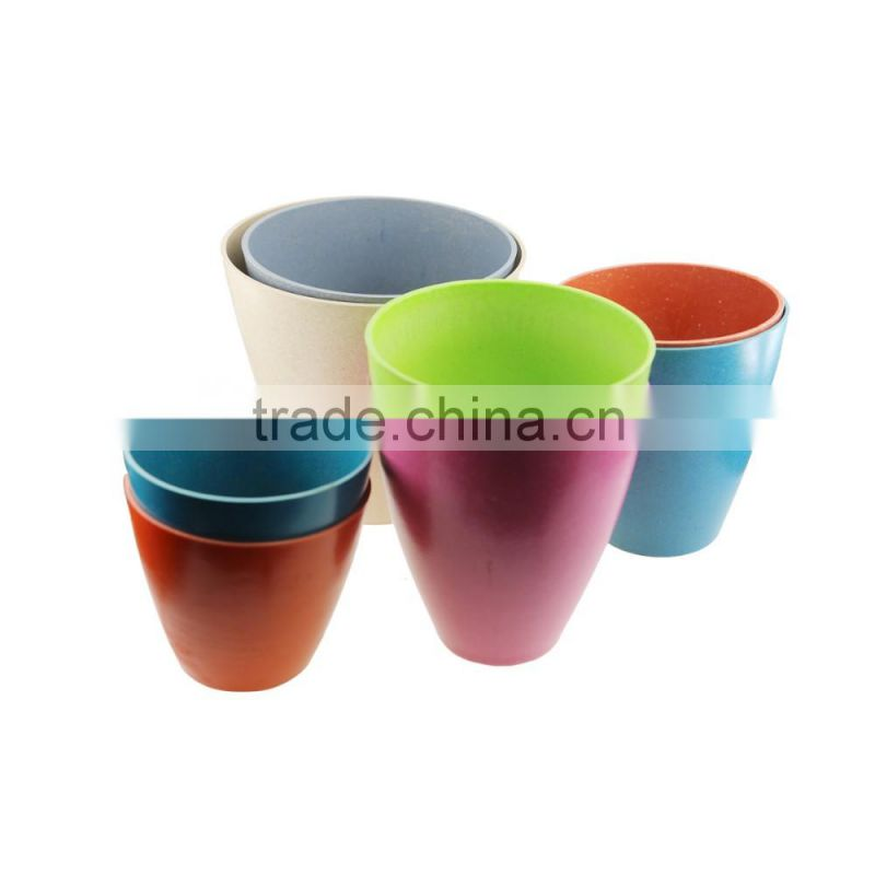 Factory price Food grade Green technology Bamboo Fiber Garden Round Plant Pot