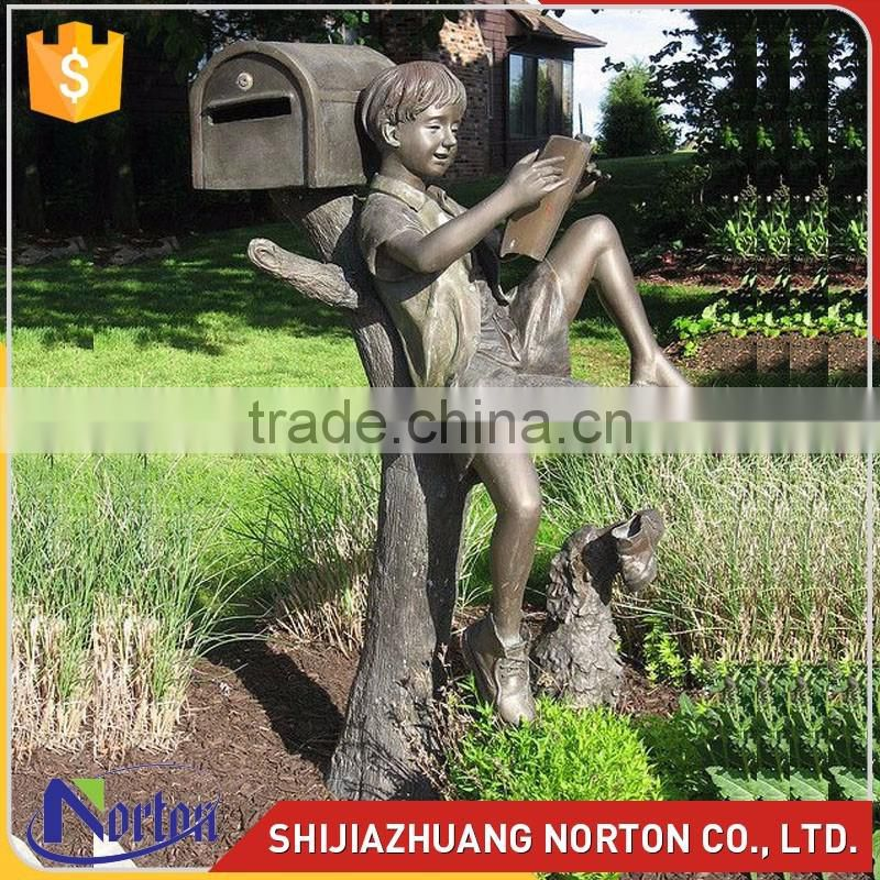 casting bronze boy statue mail box outdoor house NTBH-S838X