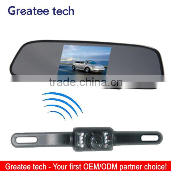 Wireless car rearview camera system with 4.3 inch mirror monitor