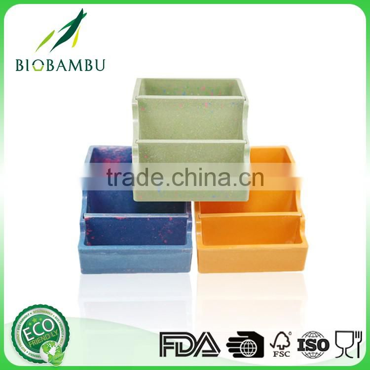Colorful China factory office container simple design bamboo pen holder