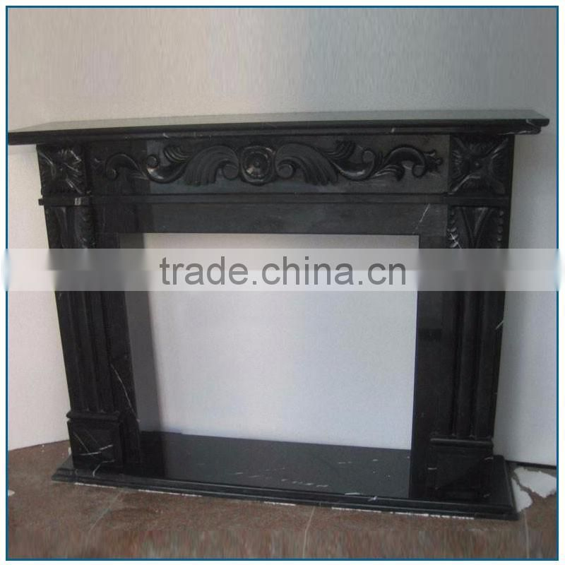 Black Flower Carved Stone Marble Classic Fireplace Mantel