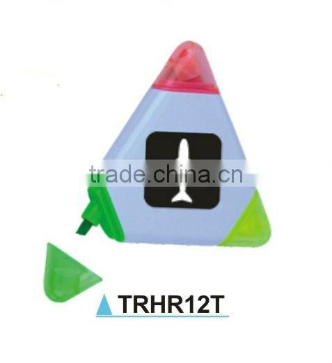 Triangle shape 3 in 1 plastic highlighter pen
