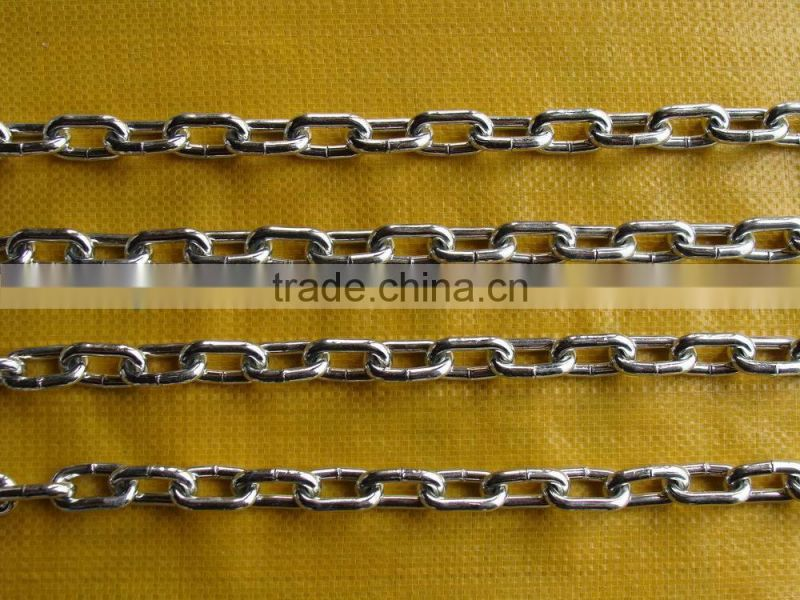 Straight welded steel link Chain standard DIN763 link chain with best factory price