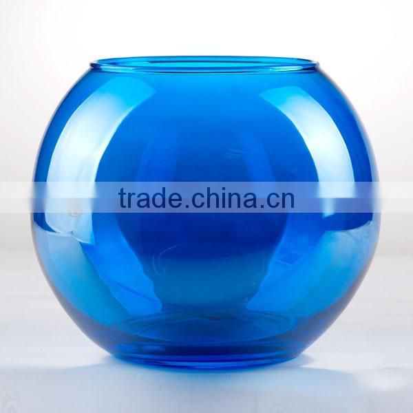 decorative blue color glass hurricane vase top grade fish bowl