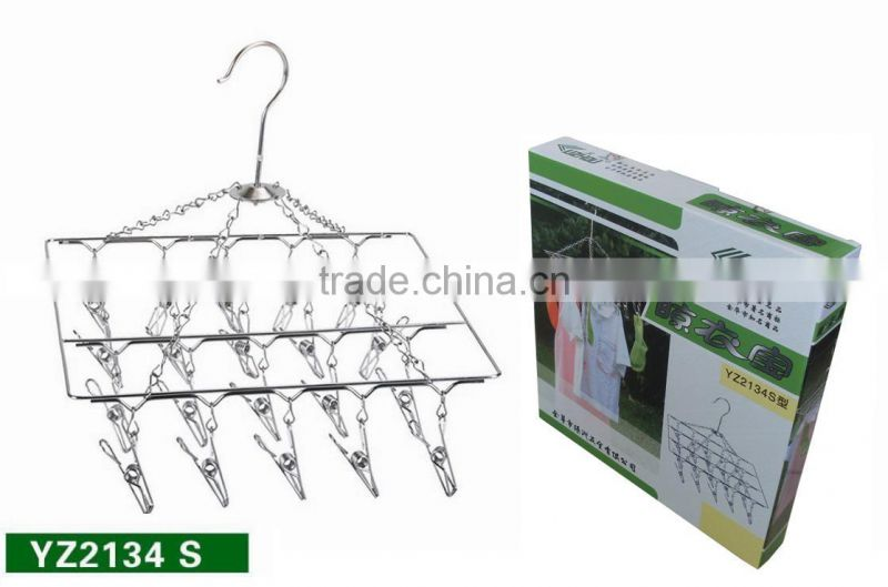 HIGH QUALITY 20 pcs hanger Laudry clothes clip hanger STAINLESS STEEL