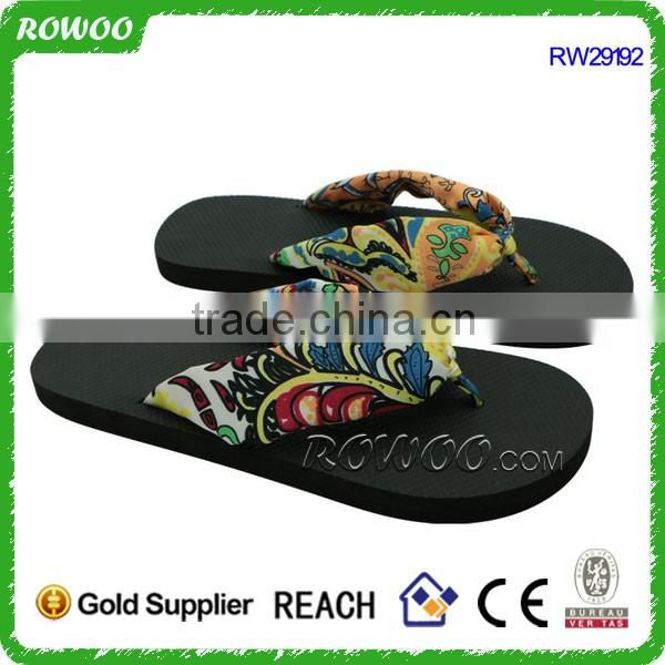 Fashion Ladies Beautiful Flat Flip Flops Satin upper Eva Sandals