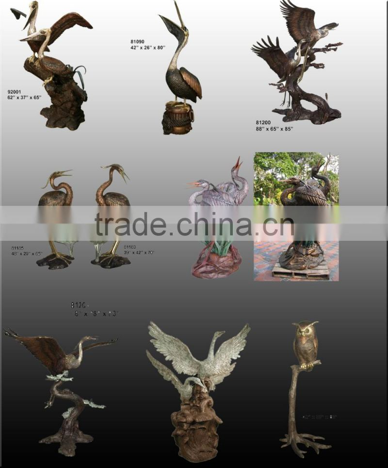 Outdoor large antique bronze crane statue NTBH-D409A