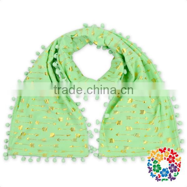 White Silk Scarf For Painting Long Plain Color Scarf Pom Pom Cotton Fashion Scarf