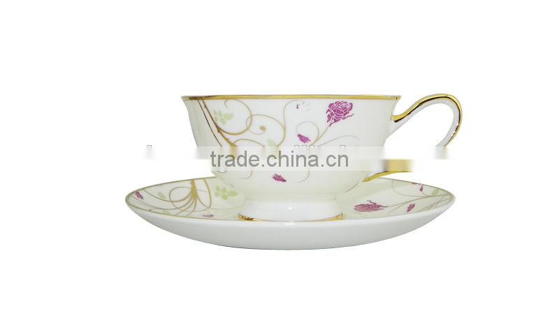 200ML Style Flower Pattern Coffee Mug with Saucer Set