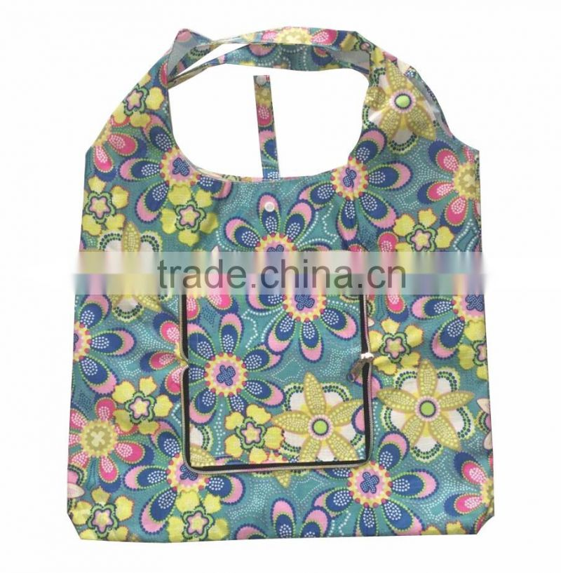 2016 new design full colour printing polyester folding bag with zipper pocket