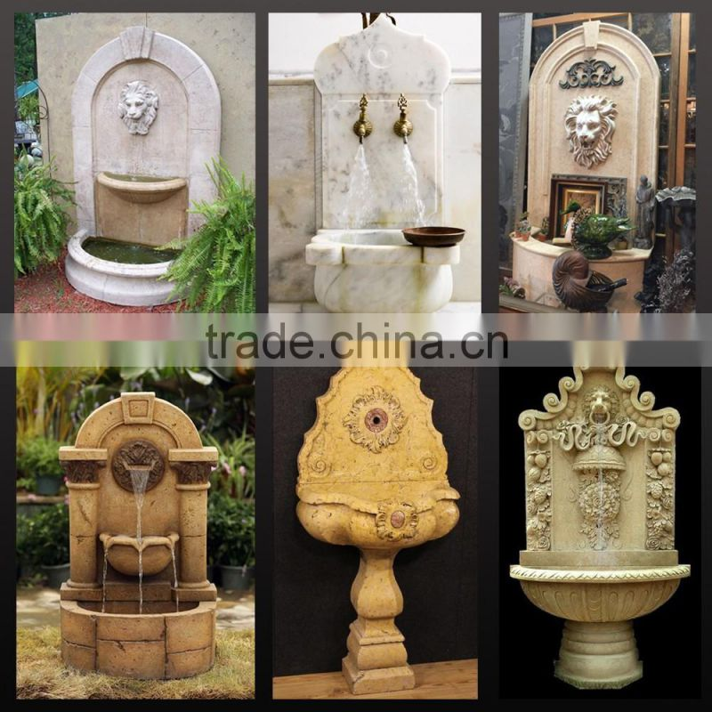 Large size polished horse and lion head wall fountain for sale NTMF-SA071L