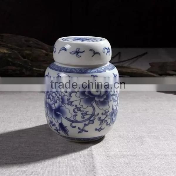 Chinese style blue and white antique chinese cremation urn