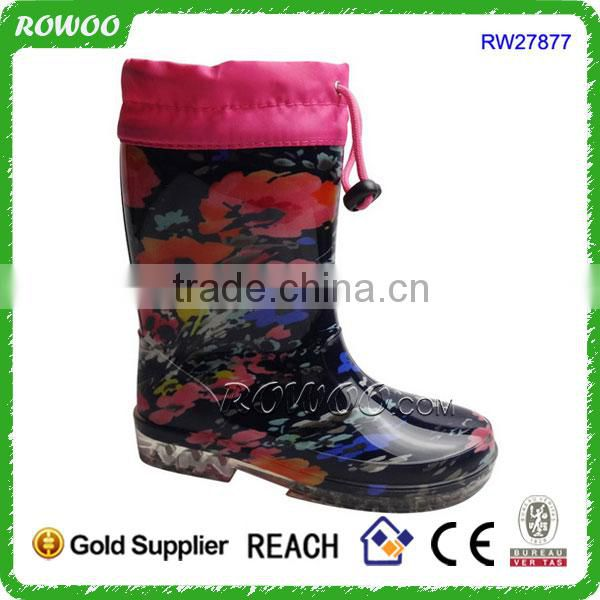 Fashion printing rubber boots womens 2015, high heel rain boots for woman