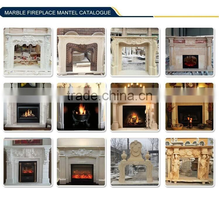 Indoor Stone freestanding Fireplace Mantel 100% Hand Carving