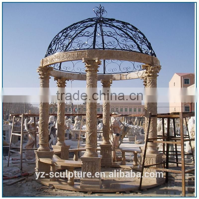 round marble gazebo with iron metal roof for outdoor