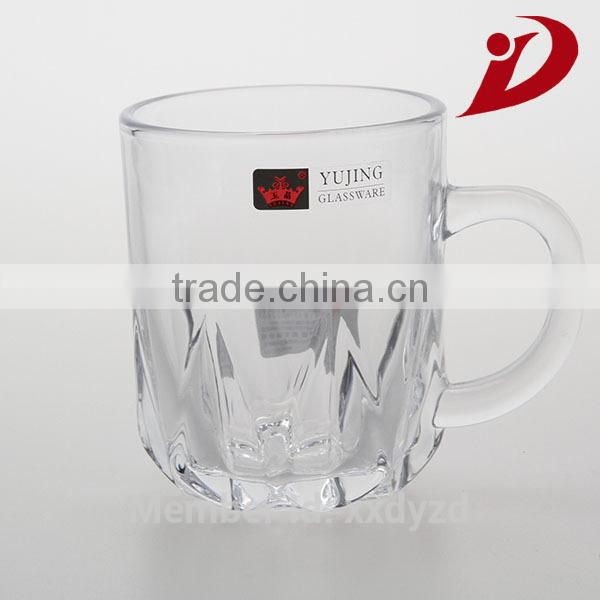 230ml glass coffee cup with special stem and handle