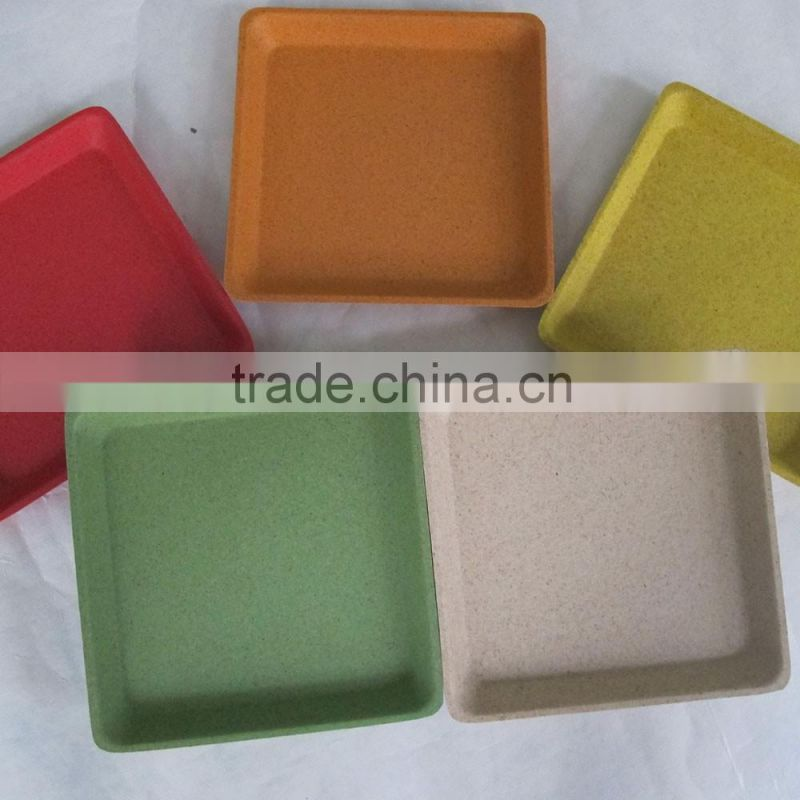 Square trad eco-friendly bamboo fiber pot trays