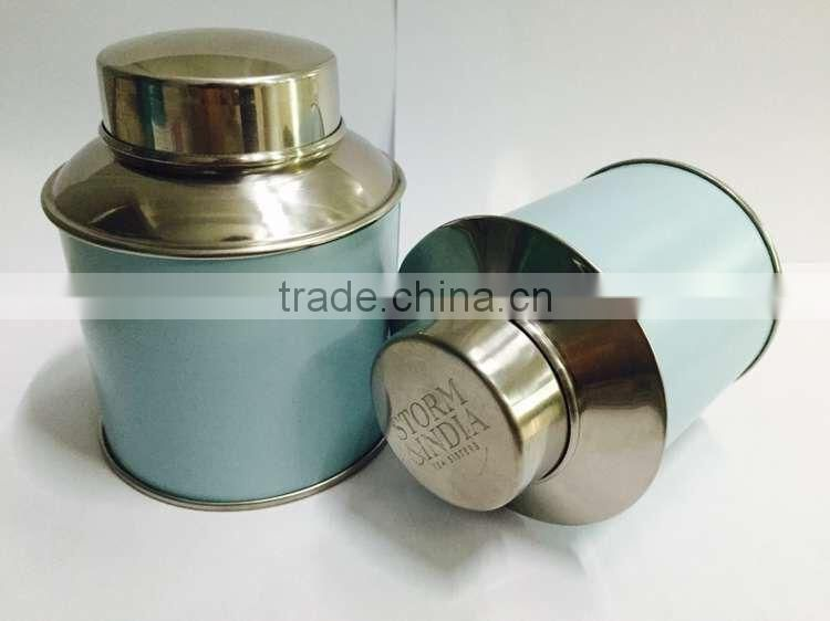 Stainless steel blue coated Tea canister box size 9.5x12cm