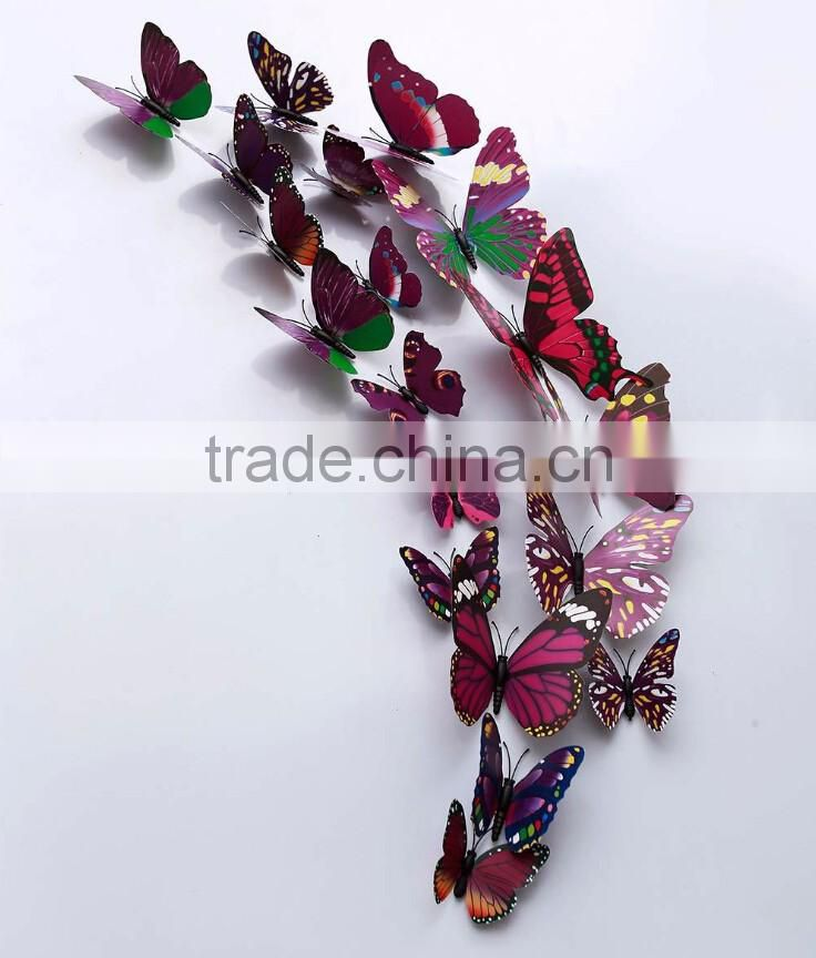 12PCS 3D Butterfly Wall Stickers Decoration Art Decorations 4 size