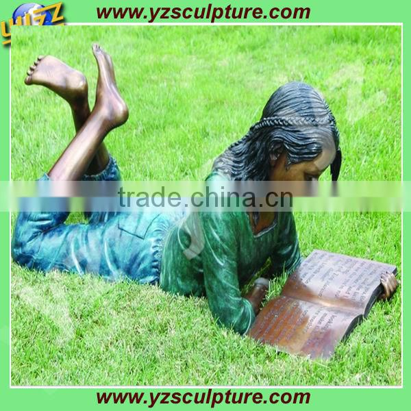 outdoor bronze reading girl statue fro decoration