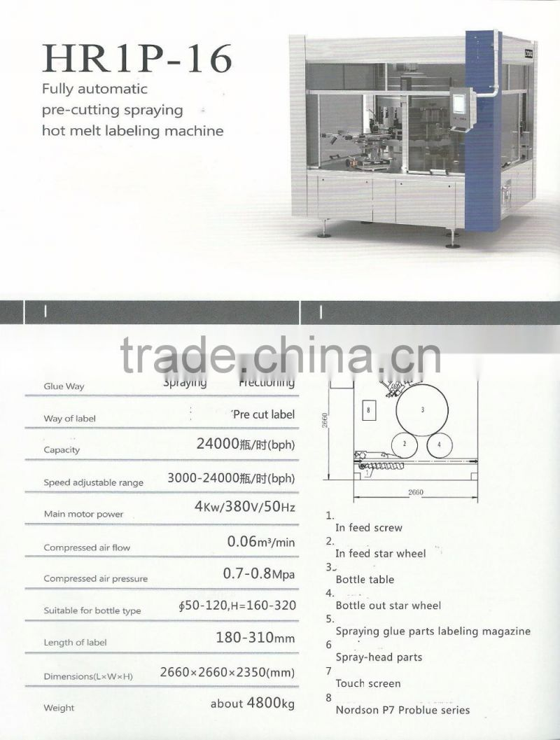 HR 1P-16 Fully automatic pre-cutting spraying hot melt adhesive bottle labeling machine