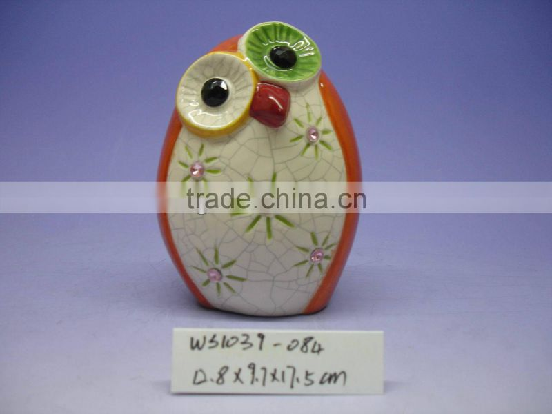 2014 New design Ceramic Owl Coin Bank for Kid
