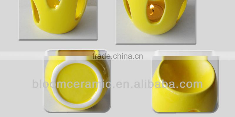 Wholesale yellow ceramic candle oil burner